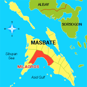 Map of Milagros, Masbate