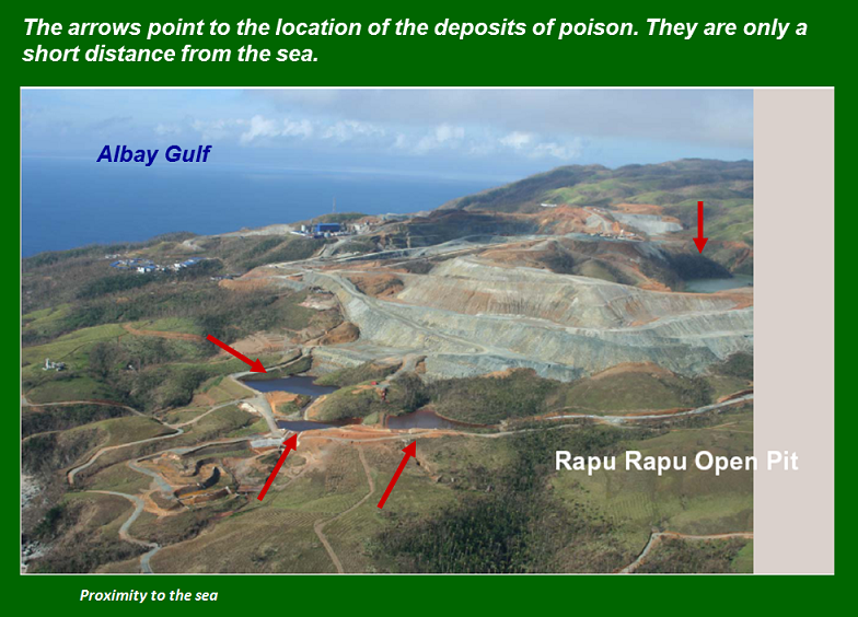 Aerial phote of the open mine site in Rapu-Rapu. Albay. Photo by ejatlas.org/conflict/rapu-rapu-polymetallic-mine-philippines