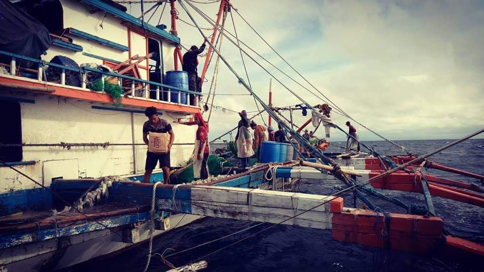 The apprehended marauding Ilonggo fishing vessel F/B Toto Junar by the Miligros Bantay Dagat Task Force off the waters of Guinlutangan, Milagros, Masbate on Friday afternoon. Photo by Milagros Municipal Police Station sent through the efforts of Jet Ramos.